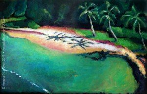 "Olowalu Beach from the Ocean - acrylics on paper-canvas - 11"" x 17"" - available - $395"