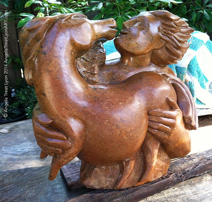 "We Two - Brown California Soapstone 12"" x 12"" x 6"" - Available $2795"