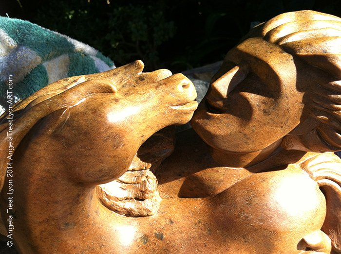 "We Two - Brown California Soapstone - 12"" x 12"" x 6"" - Available $2795"