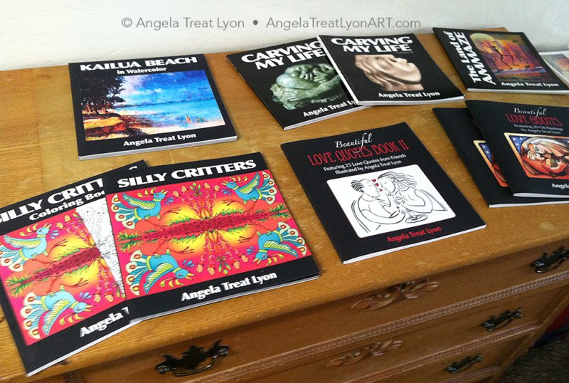 Some of my sculpture and art books, the Love books and Coloring Book