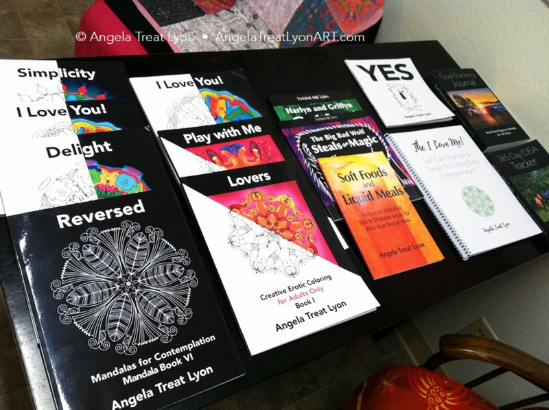 Various other books, including coloring books