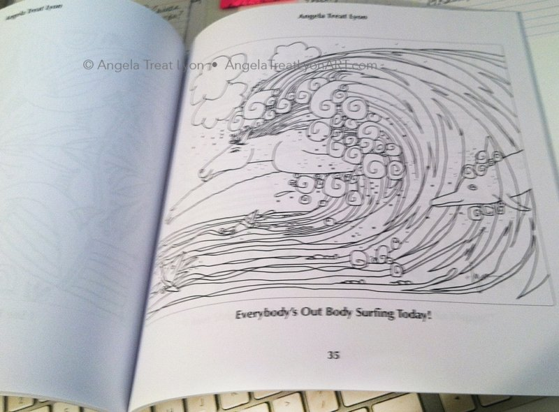 Inside one of the coloring booksEach coloring book page has a blank back to avoid ink bleed-through